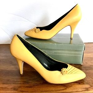 Vintage 80s Yellow Floral Ruched Leather Pumps Box